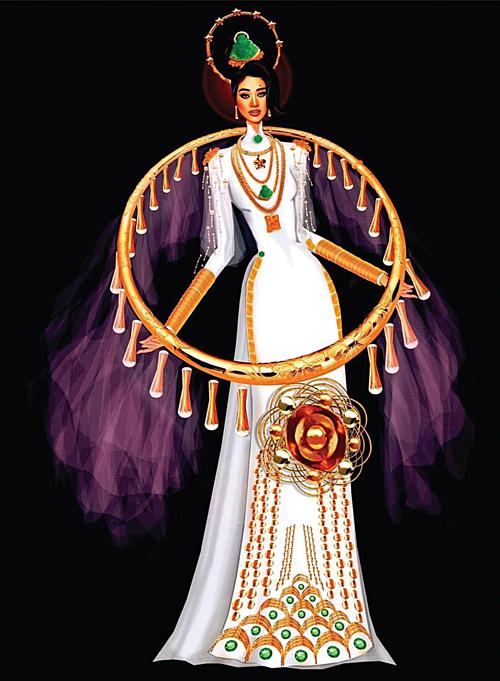 Áo bảo hộ Covid-19 được thiết kế thành trang phục dân tộc thi Miss Universe - 8