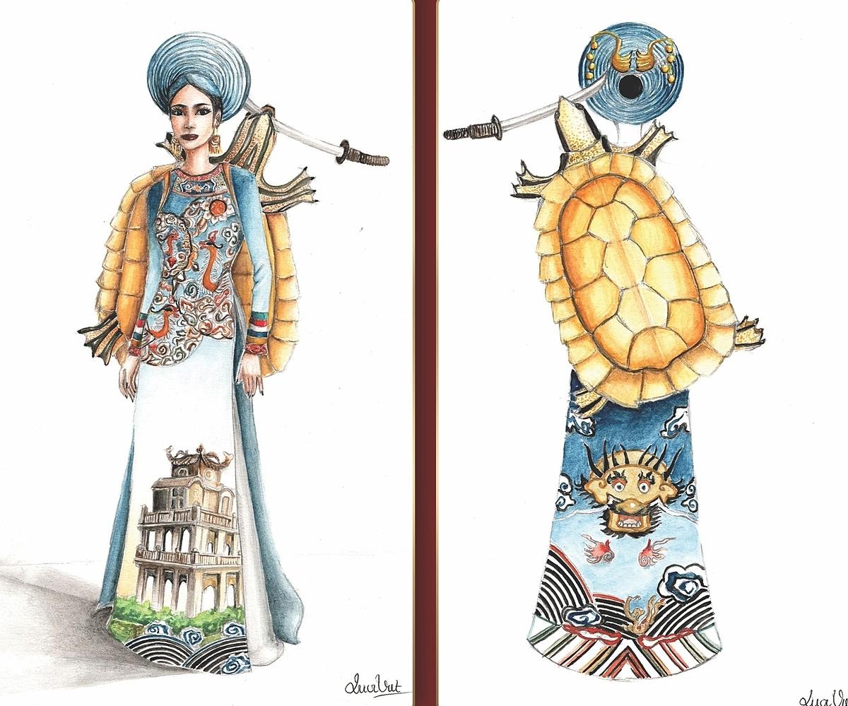 Bộ trang phục Hồ Gươm của Vũ Quốc Việt lấy ý tưởng từ sự tích Hồ Gơm, với thiết kế này người xem có thể liên tưởng được cốt truyện, bởi sự nổi bật của Rùa Vàng và Hồ Gươm cùng với những họa tiết trên chiếc áo dài không đối xứng với nhau,