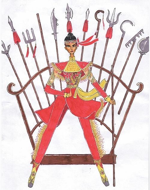 Đất võ trời văn là một bài thi khác của Cao Văn Tường. trang phục mang tính trình diễn trên sân khấu nói lên sự mạnh mẽ của phụ nữ Việt Nam và võ thuật cổ truyền ra Thế giới. Điểm nhấn là khi đi ra sân khấu, người mặc sẽ đi roi (quyền) mạnh mẽ, dứt khoát.