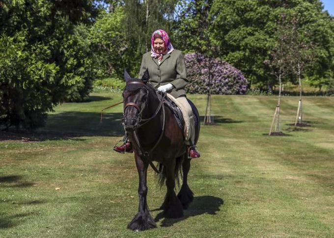 Nữ hoàng Anh cưỡi ngựa ở lâu đài Windsor hôm 31/5. Ảnh: PA.