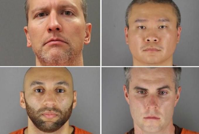 Bốn cảnh sát trong vụ ghì chết người da đen (từ trên xuống, trái sang): Derek Chauvin, Tou Thao, Thomas Lane và J. Alexander Kueng. Ảnh: Reuters.