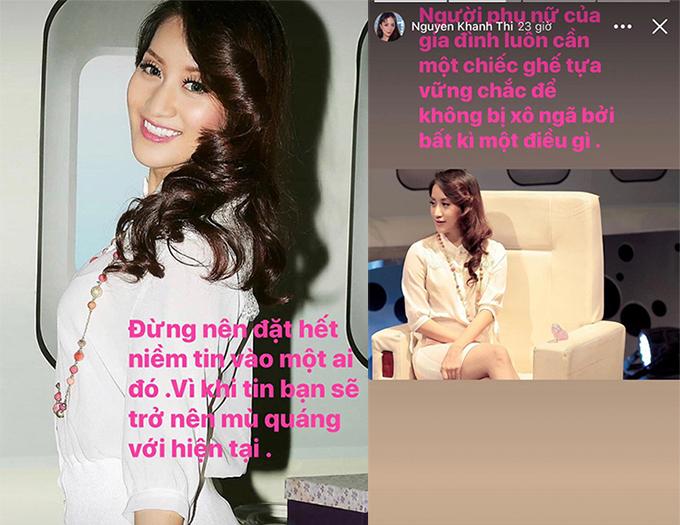 Những status tâm trạng trên story của Khánh Thi.