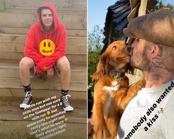 Becks đăng ảnh dìm hàng cậu út Cruz và khoảnh khắc hôn một trong ba cún cưng. Ảnh: Instagram.