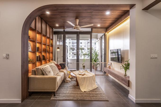 Tổng thời gian thi công, hoàn thiện căn hộ là một tháng với chi phí 700 triệu đồng gồm nội thất, trừ thiết bị điện tử.
