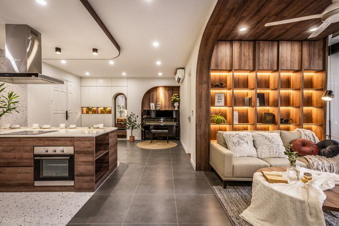Căn hộ 100 m2 ở Hà Nội dành cho 3 người ở mang phong cách hiện đại, được hoàn thiện năm 2020 bởi Iha Concept. Nhà gồm có hai phòng ngủ, một phòng khách, một bếp ăn, hai nhà vệ sinh.