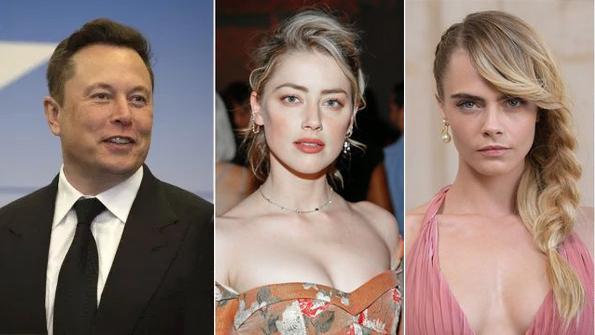 Elon Musk (trái) phủ nhận ngủ tập thể cùng Amber Heard (giữa) và Cara Delevingne (phải).