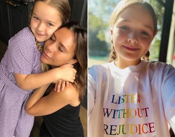 Harper mặc áo phông mẹ mới thiết kế (phải) cùng các anh quảng cáo sản phẩm cho mẹ. Ảnh: Instagram.