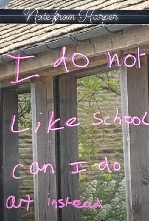 Lời nhắn của cô nhóc Harper viết trên cửa sổ. Ảnh: Instagram.