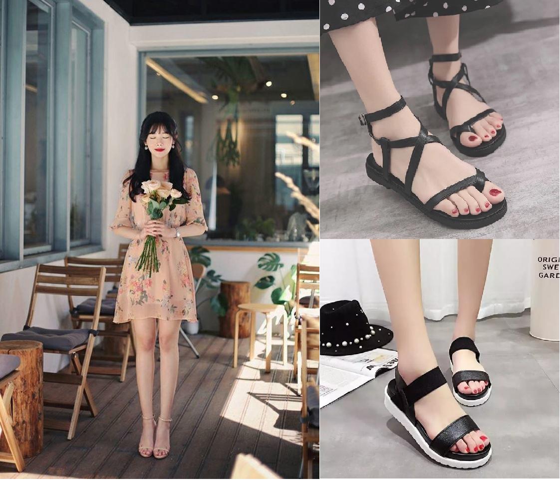 Sandals quai mảnh và váy dịu dàng: Sandals là món đồ trong thể thiếu trong ngày hè, mang lại sự thoáng mát, dễ chịu cho các cô gái, đặc biệt là dép quai mảnh và xỏ ngón. Không chỉ dễ phối hợp, sandals còn rất tôn dáng khi kết hợp cùng quần jeans ôm và váy. Công thức váy hoa nhí kết hợp với túi đeo chéo và sandals quai mảnh có thể áp dụng cho outfit vừa đi làm, vừa dạo phố.   Nếu muốn năng động hơn, bạn có thể phối sandals quai mảnh với các loại chân váy khác nhau.Độc giả tham khảo hàng nghìn mẫu sandalsvới kiểu dáng đa dạng, đang có giá ưu đãi, dưới 300.000 đồngtại đây.