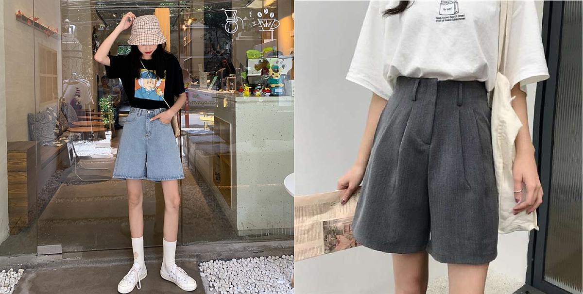 Quần shorts cạp cao và áo thun: Nhiều người quan niệm, quần shorts không phù hợp với môi trường văn phòng. Tuy nhiên, nếu biết cách phối đồ, các cô gái hoàn toàn có thể diện chúng khi đi làm.   Với trường hợp này, bạn cần tránh các mẫu quần jeans rách, tua rua, phá cách. Thay vào đó, quần short lưng cao, ống rộng và màu sắc trơn hoặc nhã nhặn, kết hợp với áo thun sẽ là sự lựa chọn thông minh.Nếu muốn nữ tính hơn, bạn có thể chọn áo blouse dáng rộng, quần short vải thô và một đôi dép sandals. Tham khảo mẫu quần shorts lưng cao, ống rộng có giá dưới 300.000 đồng tại đây.