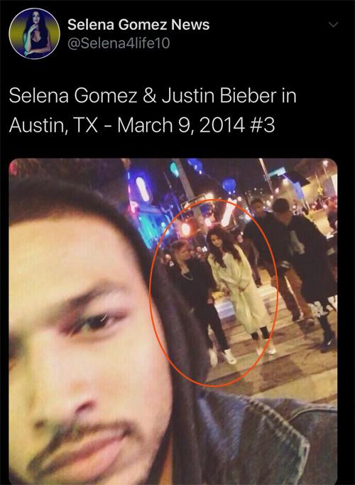 Justin đăng ảnh anh và Selena Gomez đi chơi ở Austin vào tối 9/3/2014.