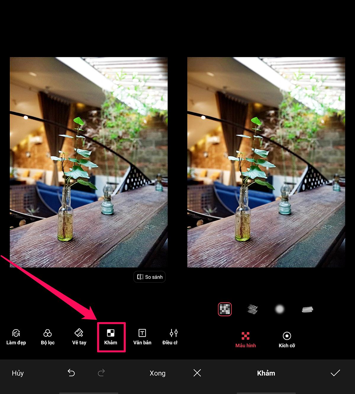 Bức hình thêm đẹp lại còn thêm độc nhờ hiệu ứng AI: Sử dụng các smartphoneRealme nói chung, Realme 6i nói riêng, người dùng sẽ thấycó rất nhiều tính năng giúp bức ảnh chụp ra đã chuẩn chỉnh về màu sắc, bao gồm tính năng tự động nhận diện bối cảnh bằng AI, tùy chọn tăng cường sắc độ, bộ lọc màu tích hợp sẵn...Trong ứng dụng xem ảnh, bạn chỉ cầnchọn hậu kỳ tấm ảnh mong muốn, sau đó bật chức năng mang tên khảm. Hiệu ứng khảmkhông chỉ giúpche đi các chi tiết trong ảnh mà còn tạo thêm các nét vẽ nghệ thuật để tôn lên chủ thể chính.