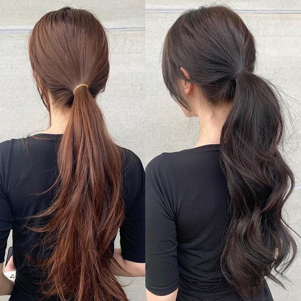 Dùng chun buộc cùng màu với tóc là chi tiết nhỏ nhưng lại giúp mái tóc thêm phần thời thượng.