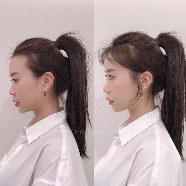Thả tóc hai bên mai để che trán dô.