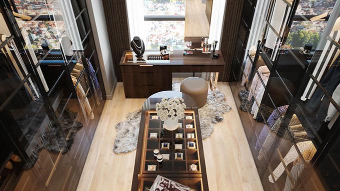 Toàn bộ nội thất của ngôi nhà này đều là đồ nhập khẩu, được đặt trước nửa năm. Thành Trung cho làm riêng một phòng để đồ sang trọng để thỏa mãn sở thích thời trang của hai vợ chồng.