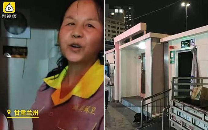 Người lao công và nhà vệ sinh công cộng nơi phát hiện trẻ sơ sinh bị vứt trong thùng rác ở tỉnh Cam Túc, Trung Quốc hôm 20/6. Ảnh: The Paper.
