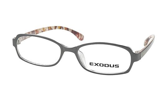 Gọng kính Exodus E104 (xám bông) chính hãnggiá 400.000 đồng; làm từ chất liệu plastic và hợp kim Titanium; trọng lượng nhẹ, ôm sát gương mặt; thiết kế dáng tròng bo cong.