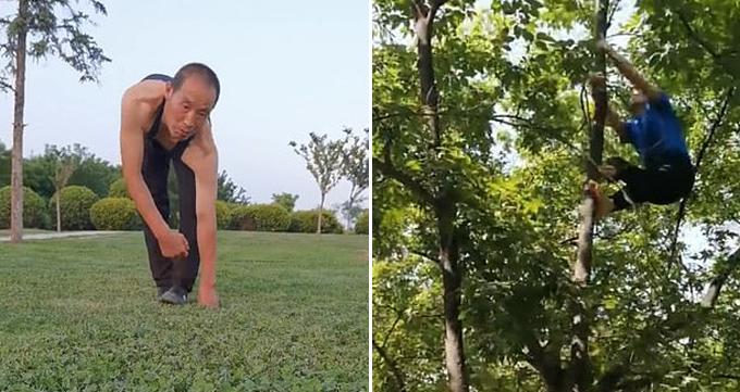 Ông Chen Haigang (50 tuổi) sống ở tỉnh Thiểm Tây, Trung Quốc, đi bộ bằng cả tay lẫn chân và trèo cây thoăn thoắt giống khỉ. Ảnh: Pear Video.