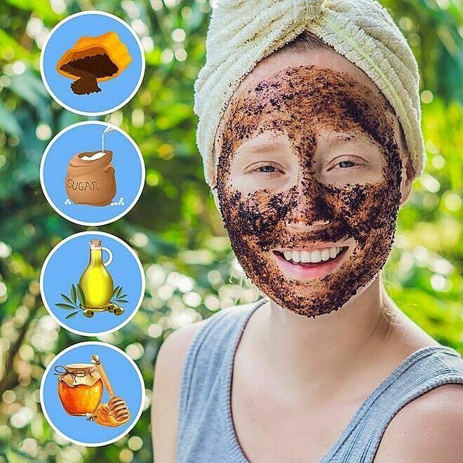 Tẩy tế bào chết cho da mặt với bã cà phê giúp chống viêm da, kích thích sản sinh collagen.