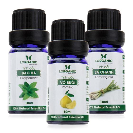 Combo 3 loại tinh dầu sả chanh, vỏ bưởi và bạc hà nguyên chất Lorganic 10ml giảm 50% còn 165.000 đồng; cho hương thơm quyến rũ, nhẹ nhàng,