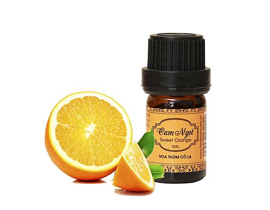 Tinh dầu cam ngọt - Sweet Orange Essential Oil 5ml - Hoa Thơm Cỏ Lạ giảm 50% còn  55.000 đồng; là một loại tinh dầu được sản xuất bởi các tế bào trong vỏ cam. Trái ngược với hầu hết các loại tinh dầu, nó được chiết xuất như một sản phẩm phụ của sản xuất nước cam bằng phương pháp ly tâm, tạo ra một loại tinh dầu ép lạnh. Sản phẩm có khả năng khử mùi, làm sạch, thích hợp sử dụng vào mùa hè.