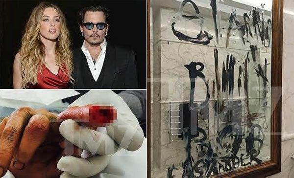 Johnny Depp bị cứa đứt ngón tay trong cuộc cãi vã. Sau đó anh dùng máu và dầu viết chữ khắp nhà, trong đó có tên Billy Bob Thornton - bạn diễn của Amber Heard.