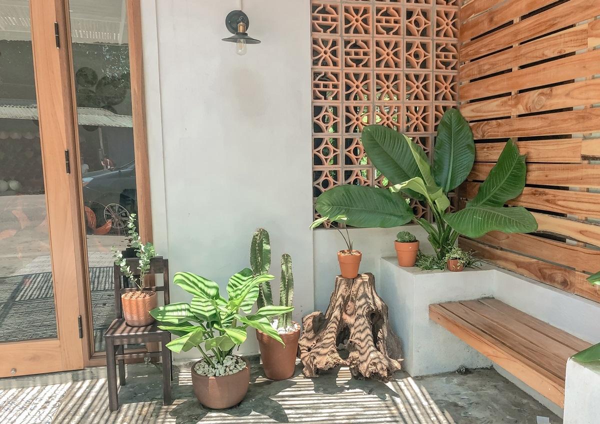 Khu vực sân tập trung vào mái che và cây cối, tiểu cảnh. Chủ tiệm dùng chậu đất nung, tạo tone màu chủ đạo hài hòa khung cảnh gồm gam trắng của tường, đỏ của chậu và xanh của cây.