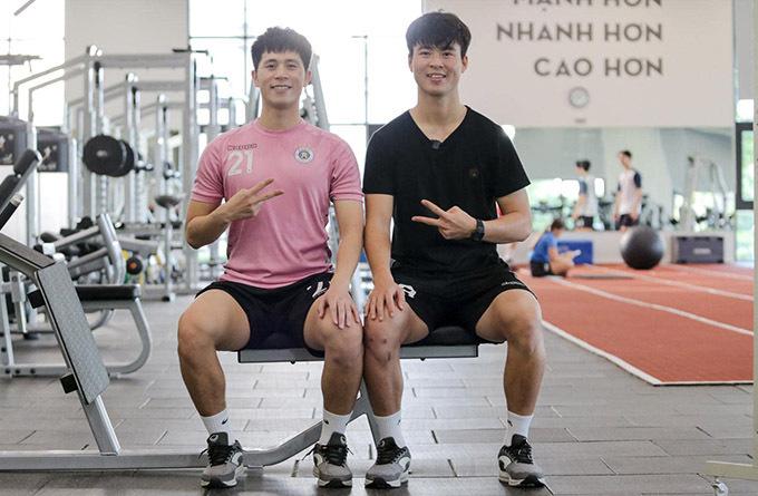 Đình Trọng và Duy Mạnh đang điều trị phục hồi chấn thương ở Trung tâm PVF (Hưng Yên). Ảnh: DM.