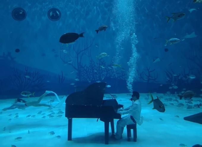 Một người chơi piano dưới nước trong công viên Haichang. Ảnhsymphony_alice
