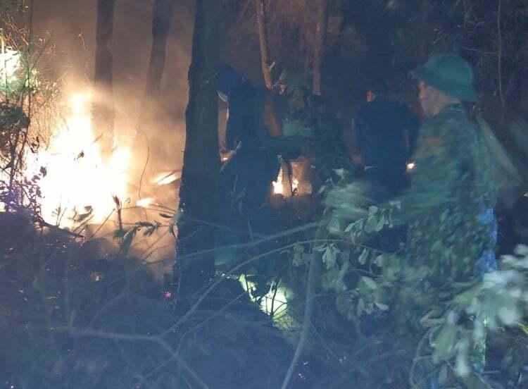 Biên phòng Nghệ An tham gia dập vụ cháy rừng ở Diễn An. Ảnh: Hải Thưởng.