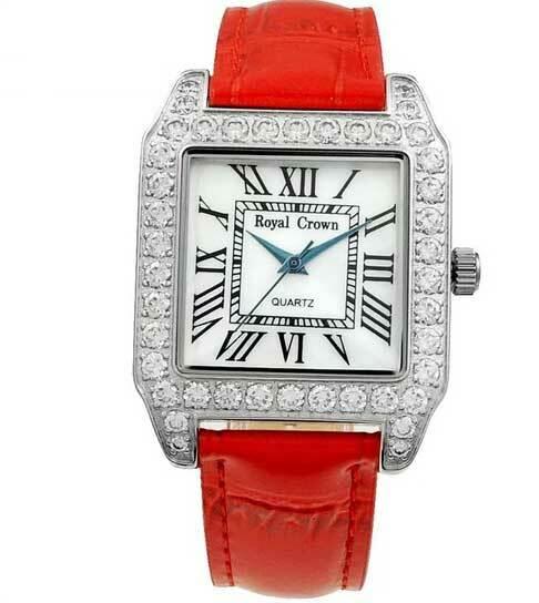 Đồng hồ nữ chính hãng Royal Crown 6104 dây da đỏ giảm 50% còn 1,099 triệu đồng; đường kính 31x31 mm; kích thước dây 18 mm; chất liệu dây da chính hãng; chống nước 3ATM.