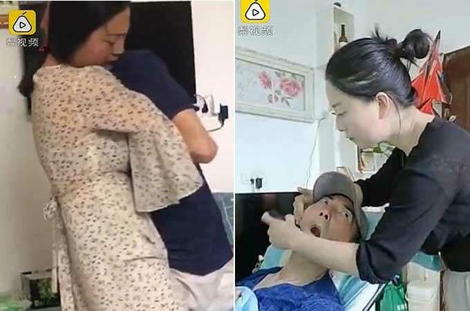 Li chăm sóc cho người bố bệnh tật.