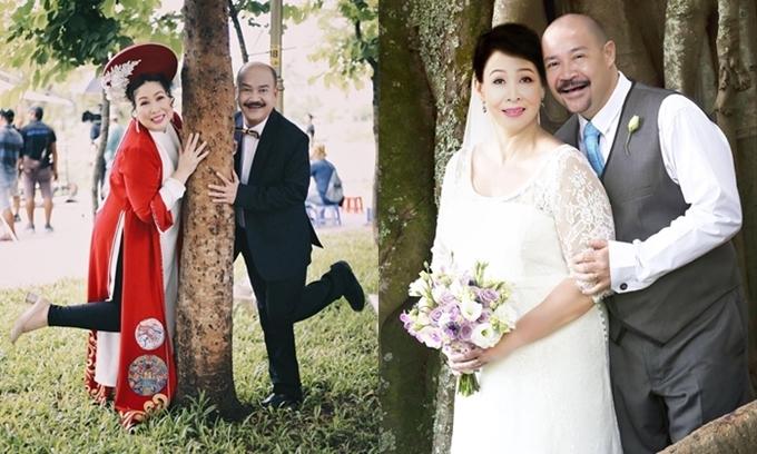 Hai bức ảnh cưới hài hước của Hồng Vân và Hoàng Sơn trong phim.