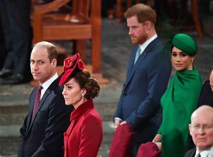 Nhà Sussex dự sự kiện hoàng gia cuối tại tu viện Westminster cùng các thành viên hoàng gia hồi tháng 3. Ảnh: AP.