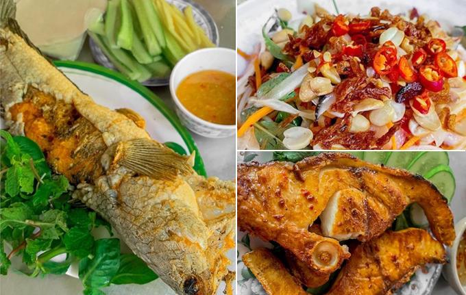 [Caption] Ăn trưa với cá Lóc chiên giòn, gỏi Ốc Vôi và cá Bóp nướng muối, toàn những món dân dã nhưng ngon xuất sắc, đặc biệt là chấm với mắm me ngon tê tái