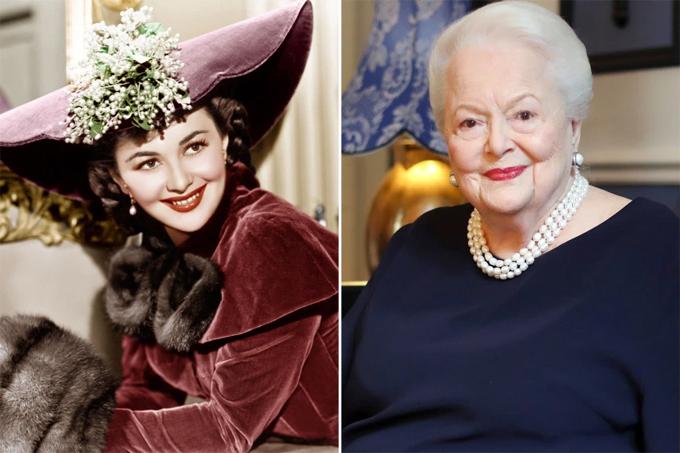 Olivia de Havilland năm 1941 (trái) và 2016. Ảnh: AP.