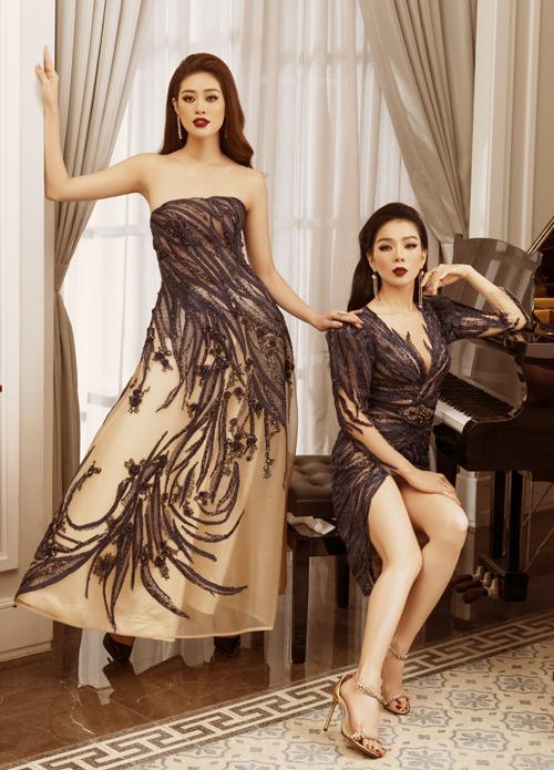 Khánh Vân và Lệ Quyên là những nàng thơ của nhà thiết kế Hoàng Hải. Cả hai đều chuộng gu thời trang điệu đà, gợi cảm.