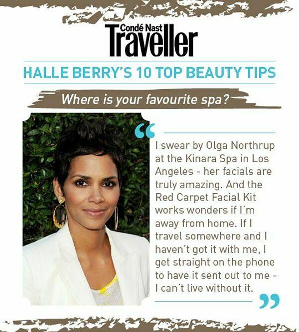 Halle Berry là khách hàng thân thiết của bác sĩ da liễu Olga Lorencin. Cô chia sẻ mình không thể sống thiếu bộ sản phẩm Red Carpet Facial Kit độc quyền của Lorencin.