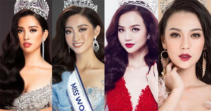 Bốn hoa hậu sẽ diễn trong show Cổ tích hiện đại của NTK Phương Hồ: Tiểu Vy, Lương Thùy Linh, Kiều Ngân và Cao Thùy Linh (từ trái sang).
