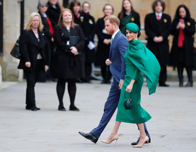 Nhà Sussex khi tới tham dự sự kiện hoàng gia cuối ở tu viện Westminster hồi đầu tháng 3. Ảnh: AP.