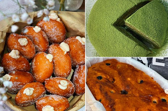 Cũng trong thời gian giãn cách xã hội, Thanh Hằng thử nghiệm công thức nhiều món bánh ngọt hấp dẫn như bánh rán tẩm đường, bánh ngàn lớp vị matcha hay bánh mì nướng nho hấp dẫn.