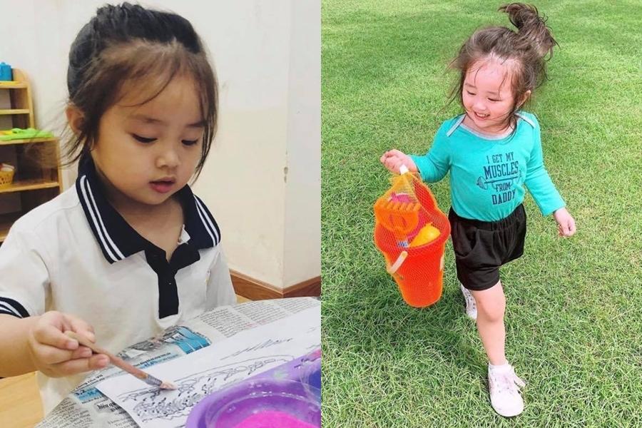 Gà đang học mẫu giáo. Theo mẹ Ngọc, Gà lên ba tuổi nên năng động, thích vẽ tranh và rất thương em.
