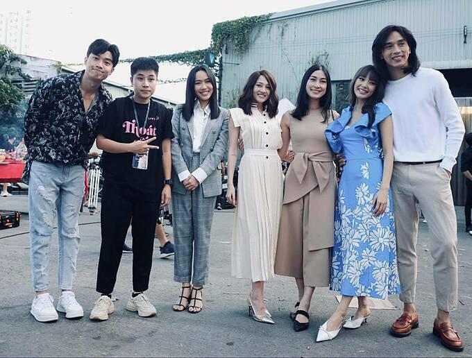 Diễn viên Quốc Trường hội ngộ cùng Diệu Nhi, Bảo An và  ca sĩ Minh Hằng trong phim mới.