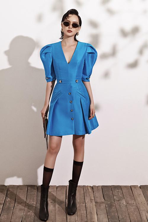 Đầm đi tiệc với tông xanh hot trend - 2