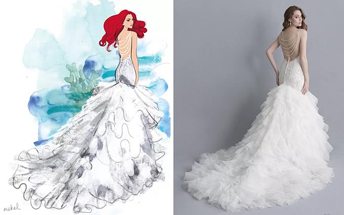 Cô dâu sẽ là hiện thân của nàng tiên cá Ariel khi khoác lên mình chiếc váy cưới trumpet (đuôi cá cách điệu).