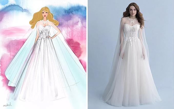 Váy cưới phong cách công chúa Aurora có áo choàng thướt tha.
