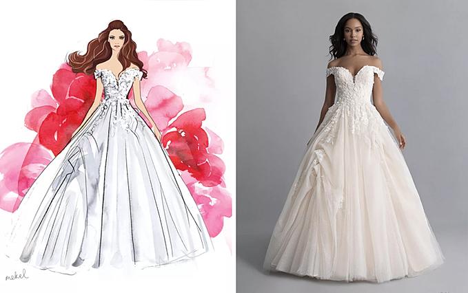Váy cưới theo phong cách của nàng công chúa ngủ trong rừng Belle.