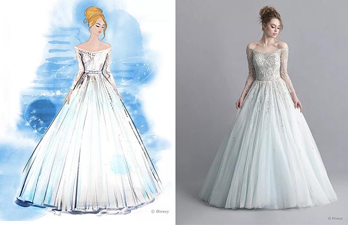 Mẫu váy cưới trễ vai dáng xòe nhẹ được sáng tạo dựa trên hình ảnh nàng công chúa Cinderella của phim hoạt hình Disney.