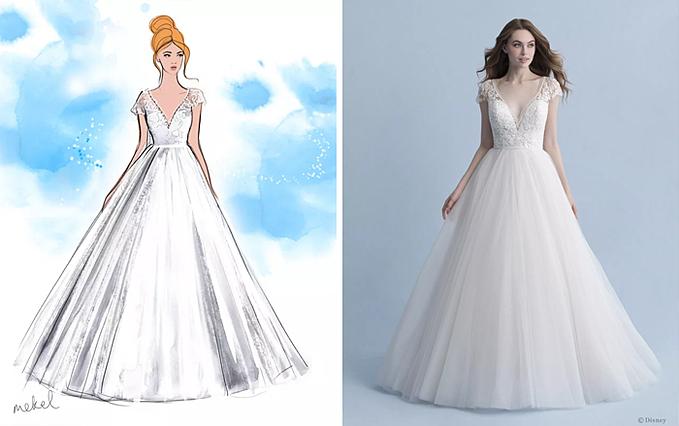 Các mẫu váy cưới gợi nhắc đến những nàng công chúa hoạt hình được mến mộ như Ariel, Belle, Cinderella, Jasmine, Aurora, Pocahontas, Rapunzel Snow White và Tiana.