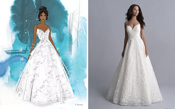 Thiết kế váy cưới tối giản dựa trên tạo hình của công chúa Tiana.